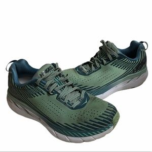 Hoka One One Clifton blue green running shoes